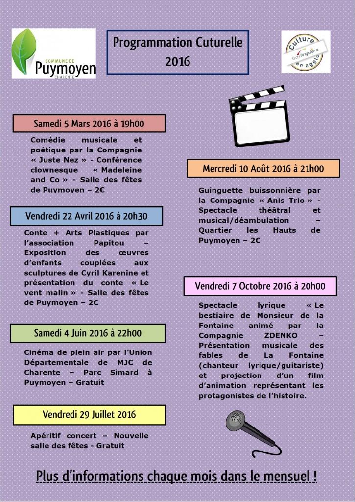 Programmation culturelle 2016 2